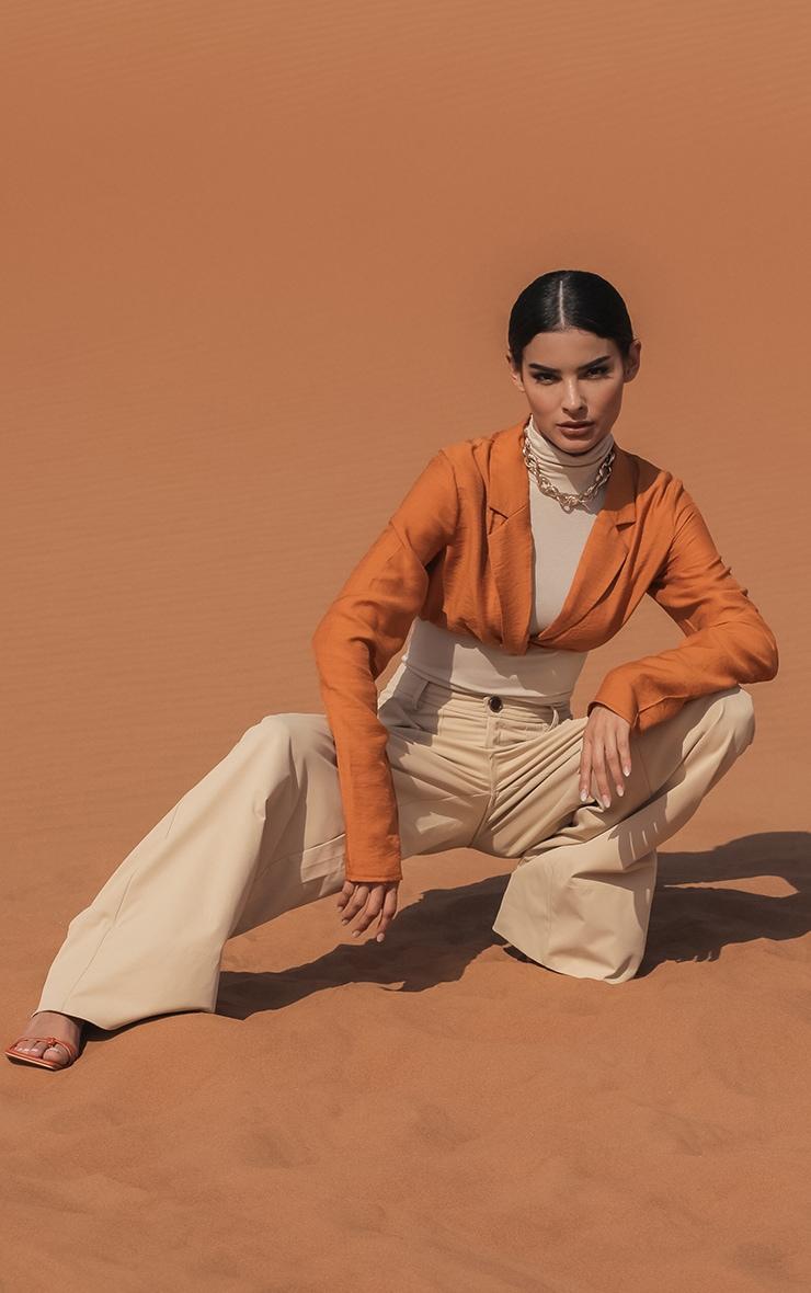 Burnt Orange Woven Twist Front Long Sleeve Crop Shirt 2