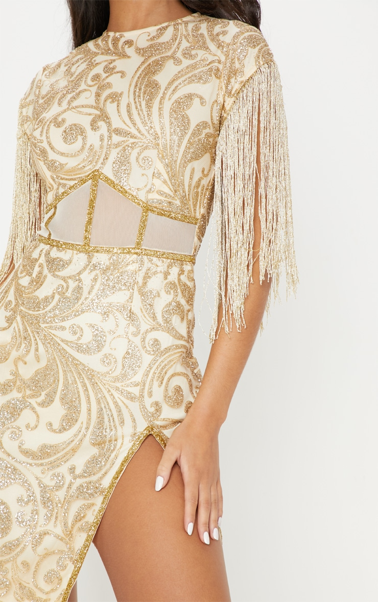 Gold Glitter Mesh Insert Tassel Sleeve Bodycon Dress 5
