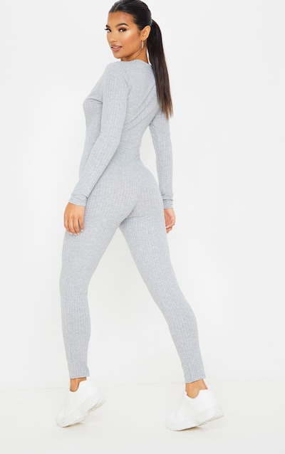 Grey Wrap Front Knitted Rib Jumpsuit