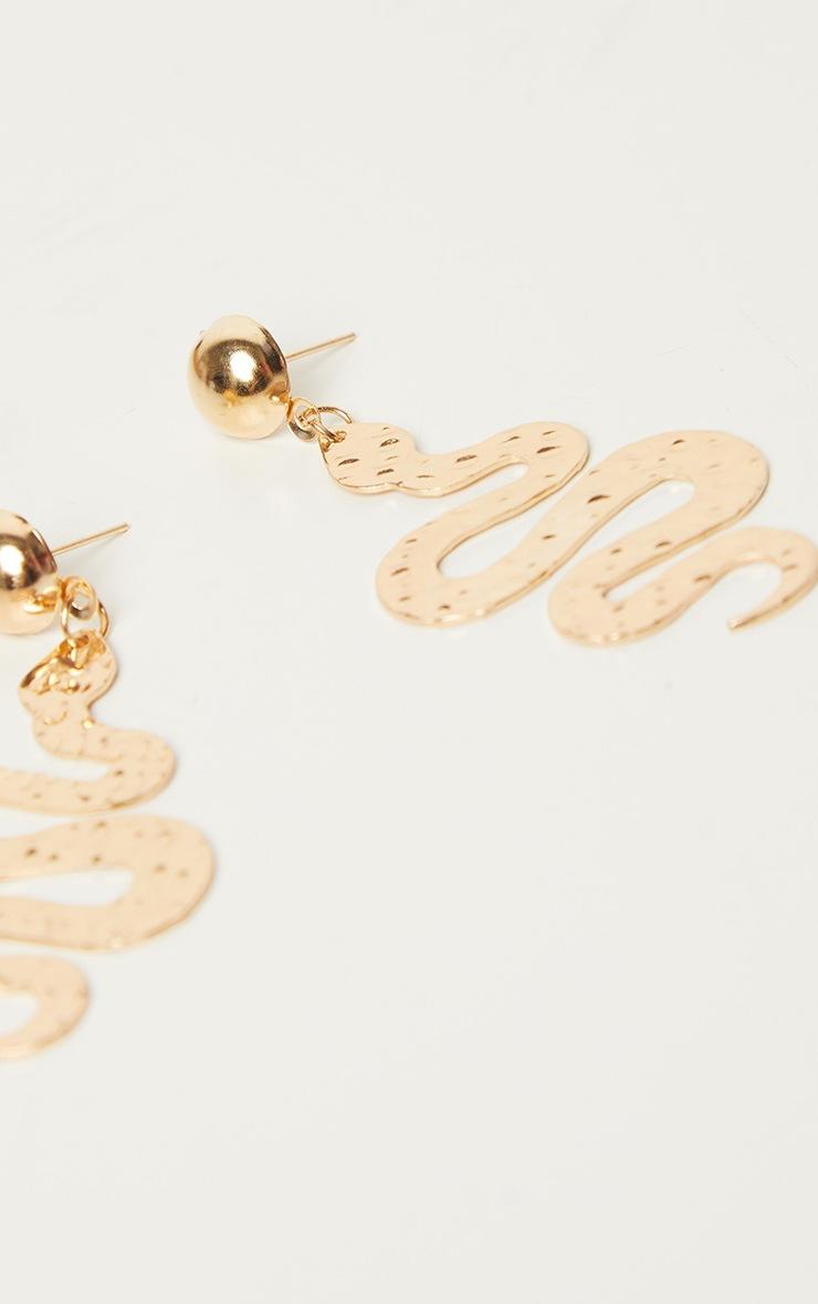 Gold Medium Snake Drop Earrings 2