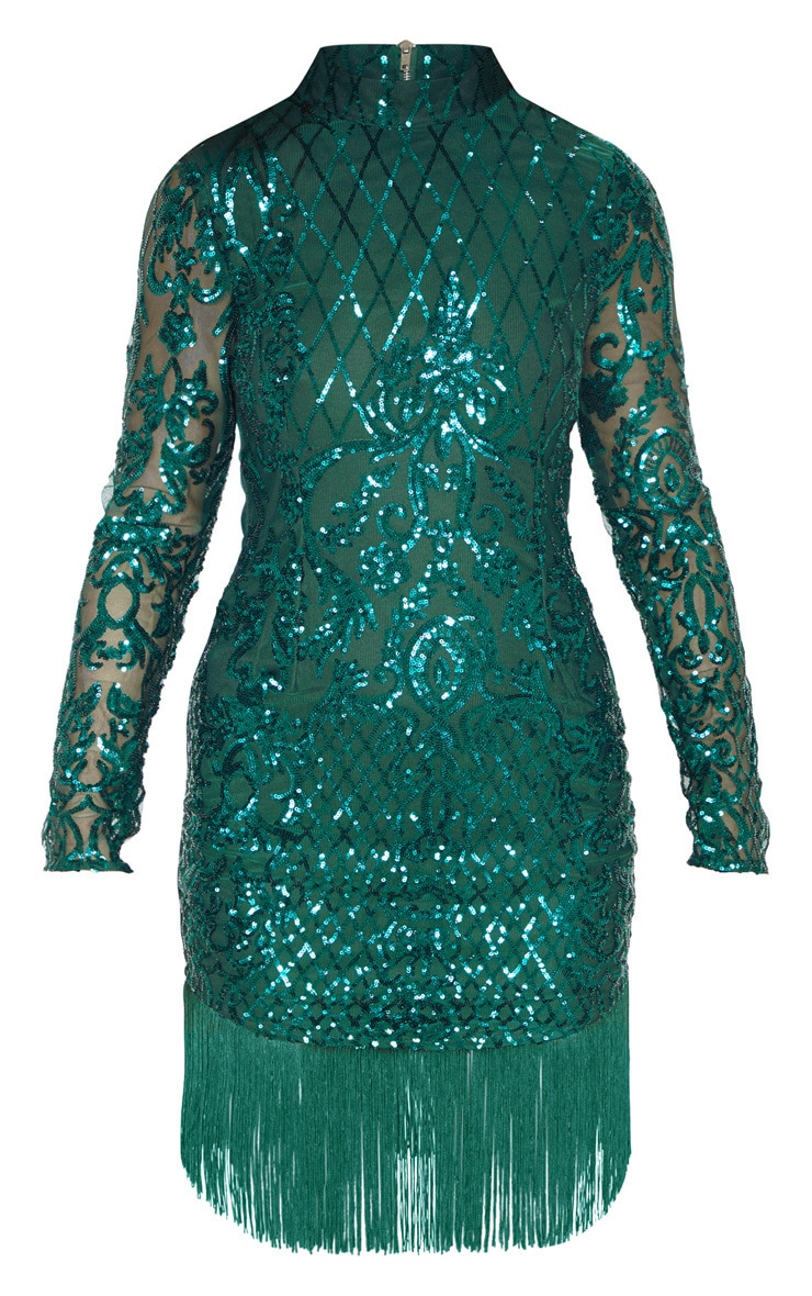 Emerald Green Sequin Long Sleeve Tassel Hem Bodycon Dress 3