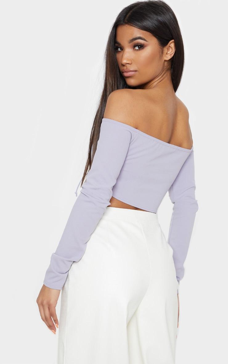 Grey Lace Up Front Bardot Crop Top 2