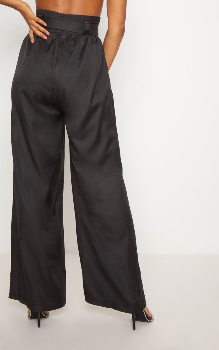 Black Cotton High Waisted Belt Detail Trousers 4