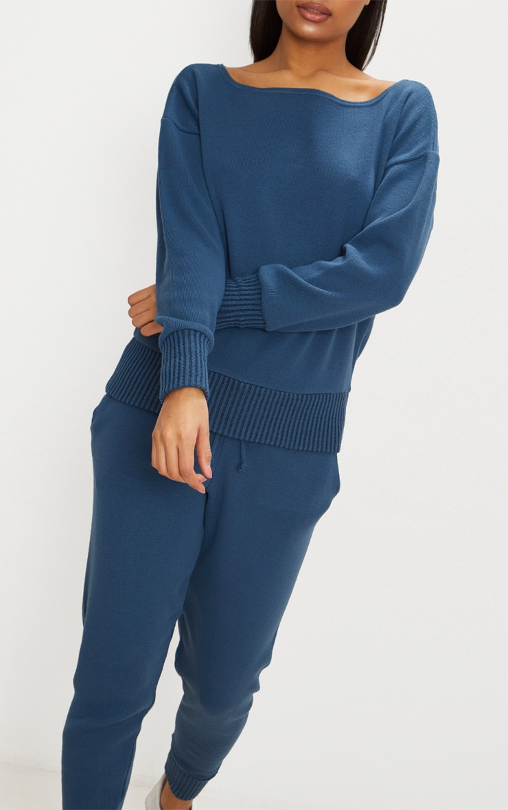 Charcoal Blue Jogger Knitted Lounge Set 5
