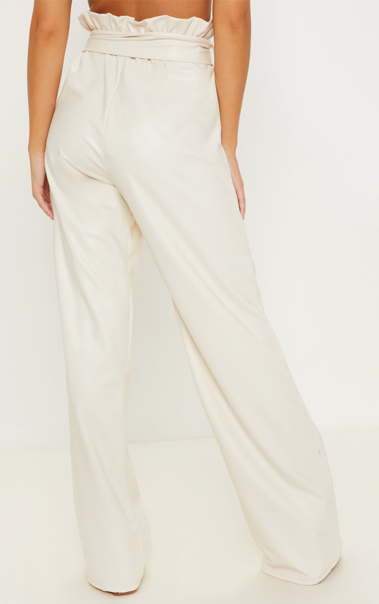 Cream Faux Leather Belted Waist Wide Leg Trouser 4