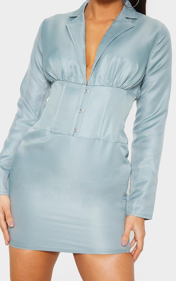 Sage Green Hook & Eye Boned Detail Blazer Dress  5