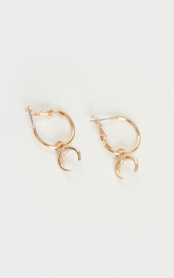 Gold Mini Hoop With Bull Horn Earrings 3
