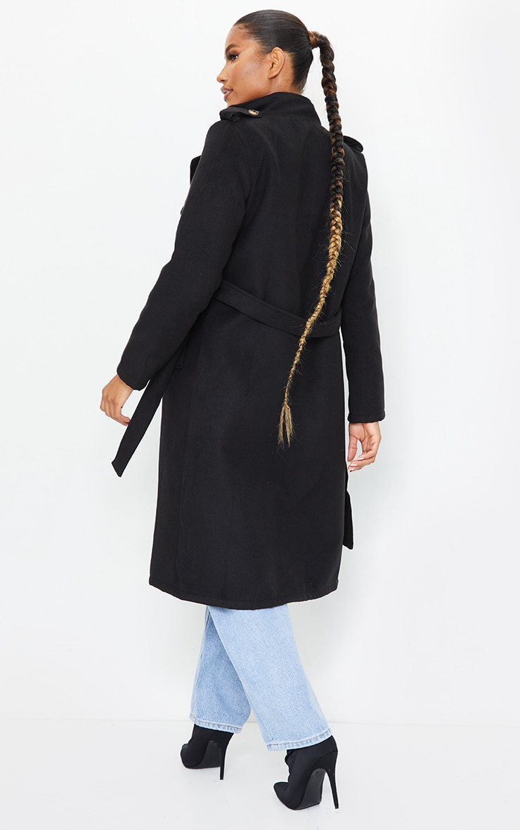 Black Wool Miltary Belted Midi Coat 2