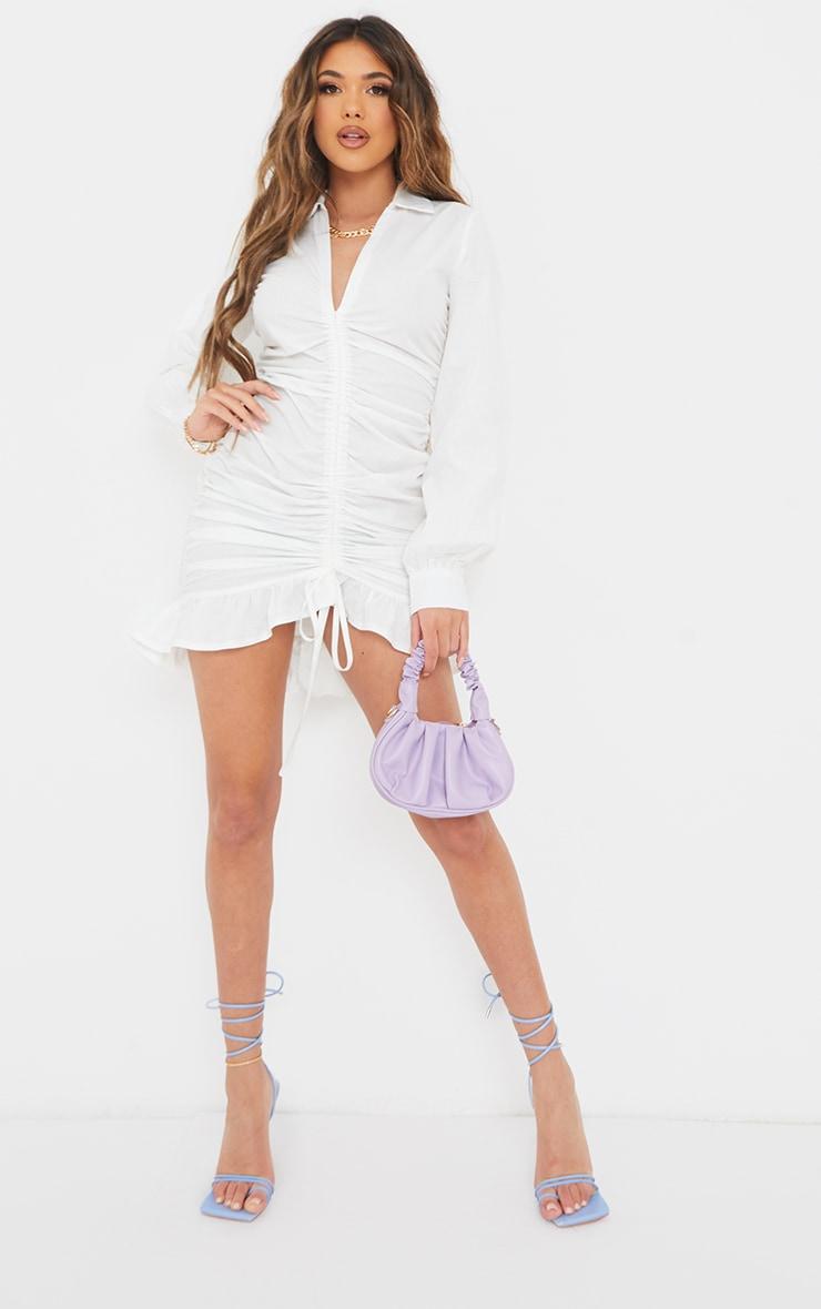 White Long Sleeve Ruched Frill Hem Shirt Dress 3
