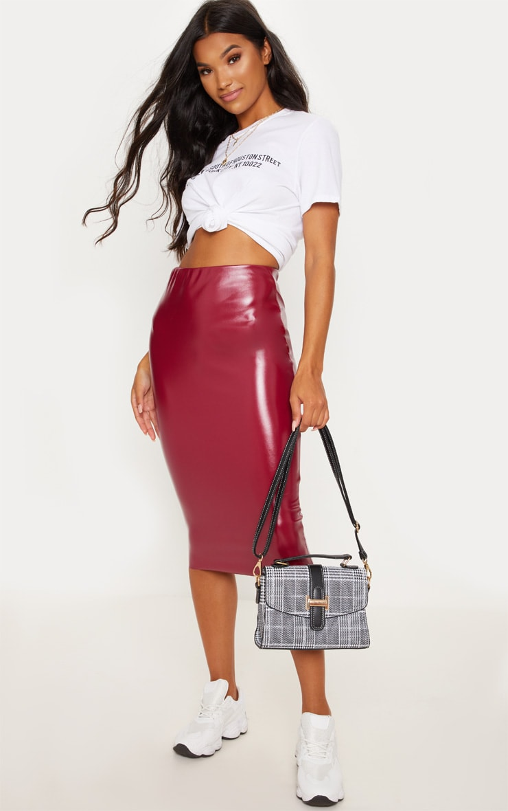 Basic Wine Faux Leather Midi Skirt