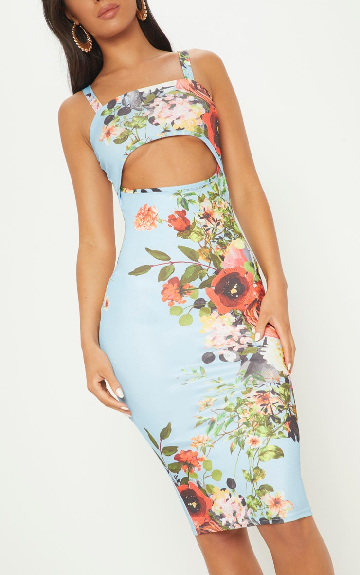 Dusty Blue Strappy Floral Cut Out Midi Dress 5