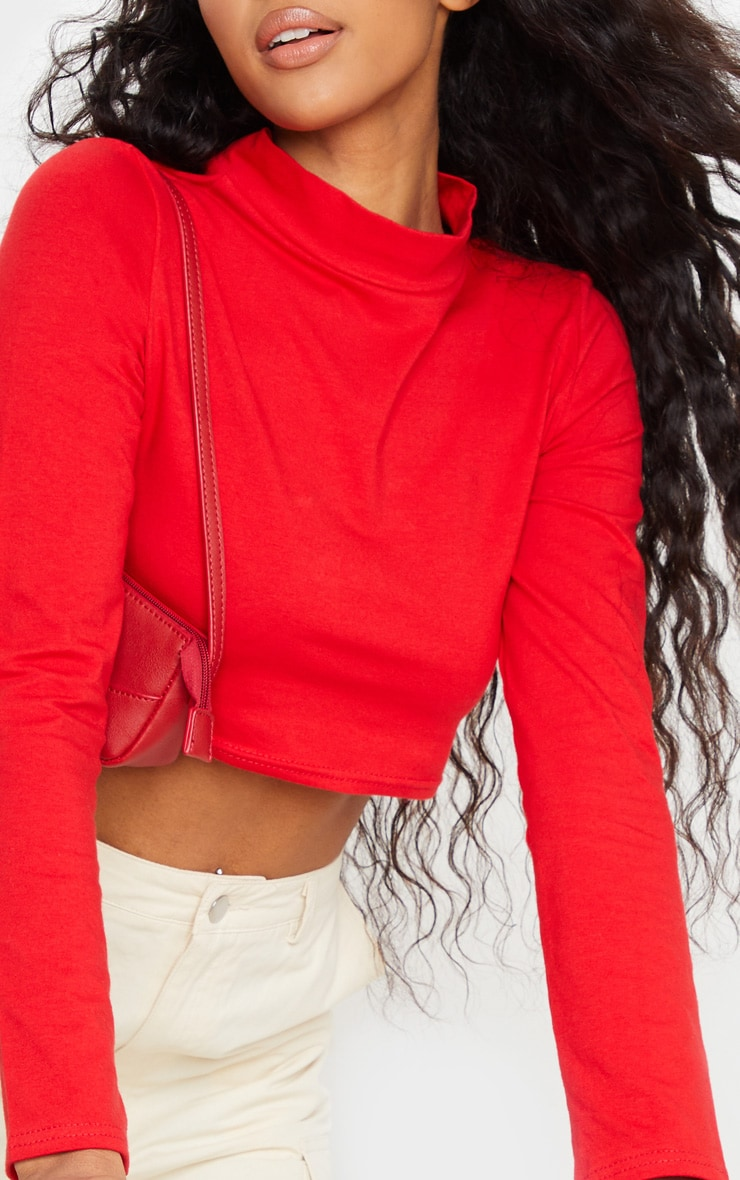 Red High Neck Long Sleeve Crop Top 4