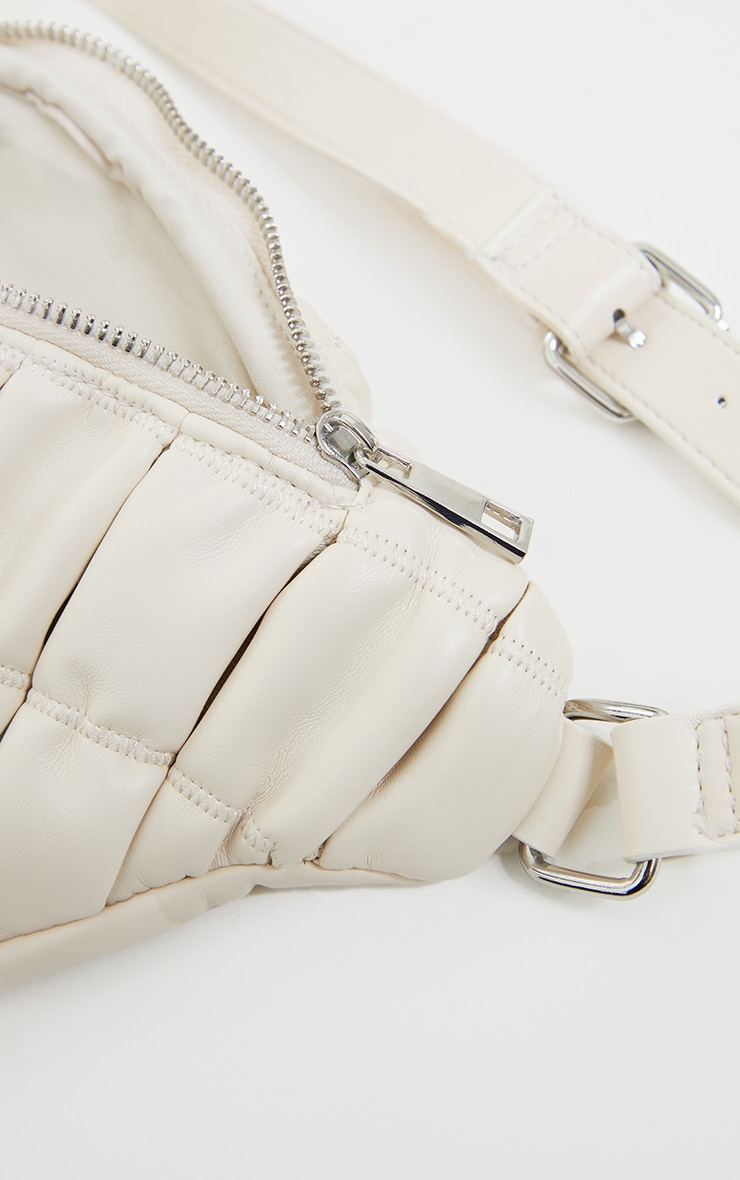 Cream Ruched Quilted Cross Body Bag 4