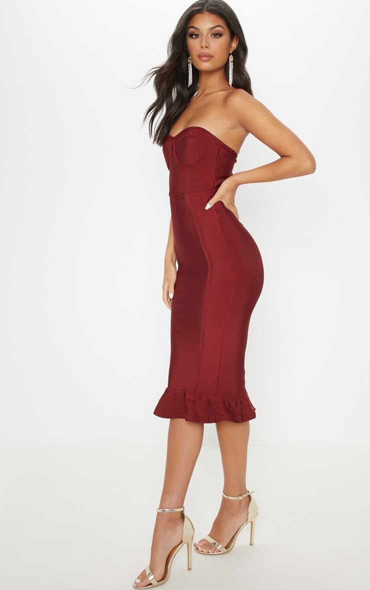 Dark Red Frill Hem Bandage Midi Dress 3