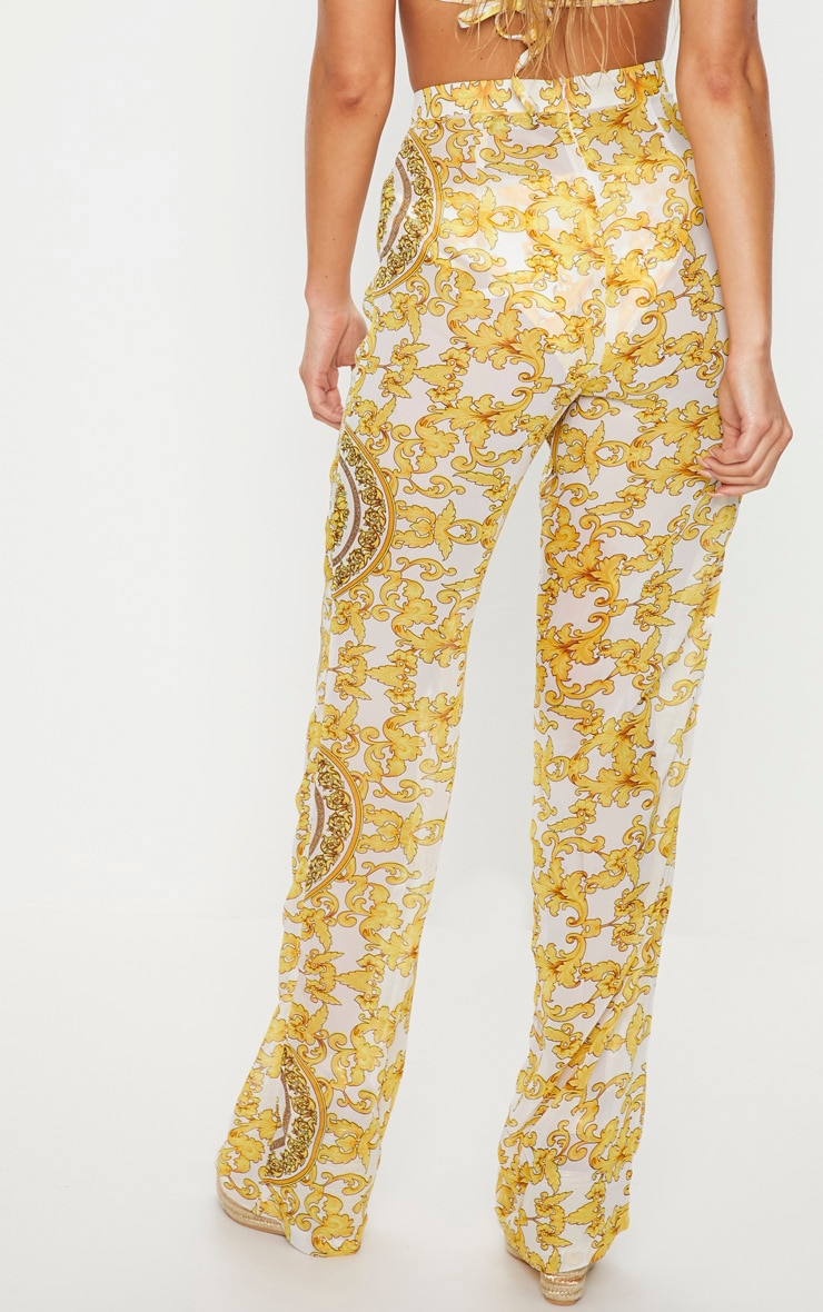 White Chain Print Beach Flares 4