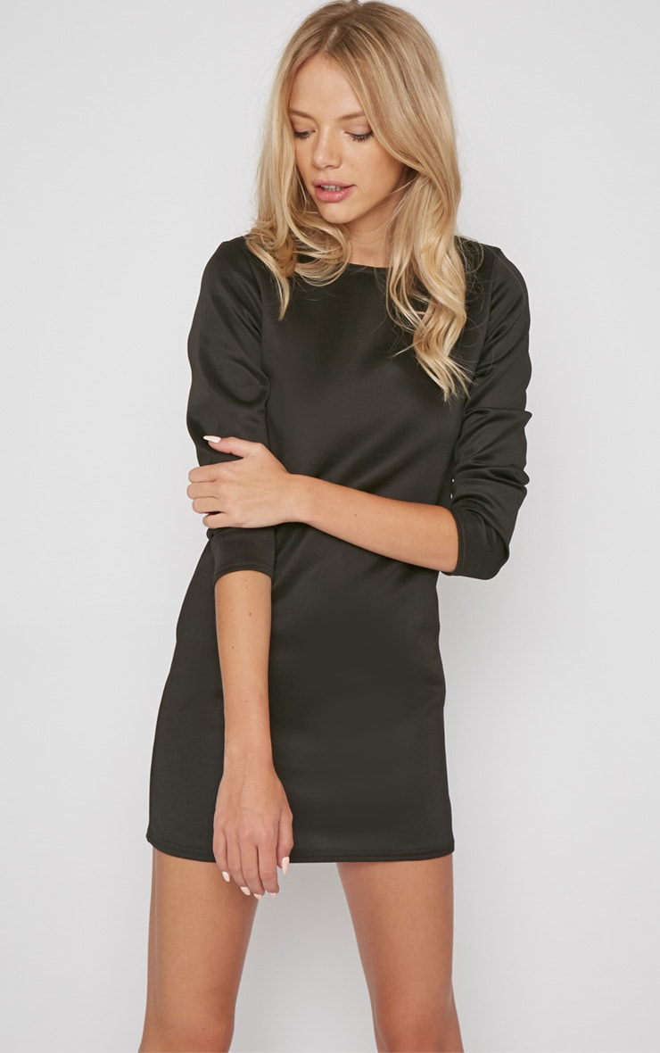 Zelda Black Long Sleeved Scuba Dress 1