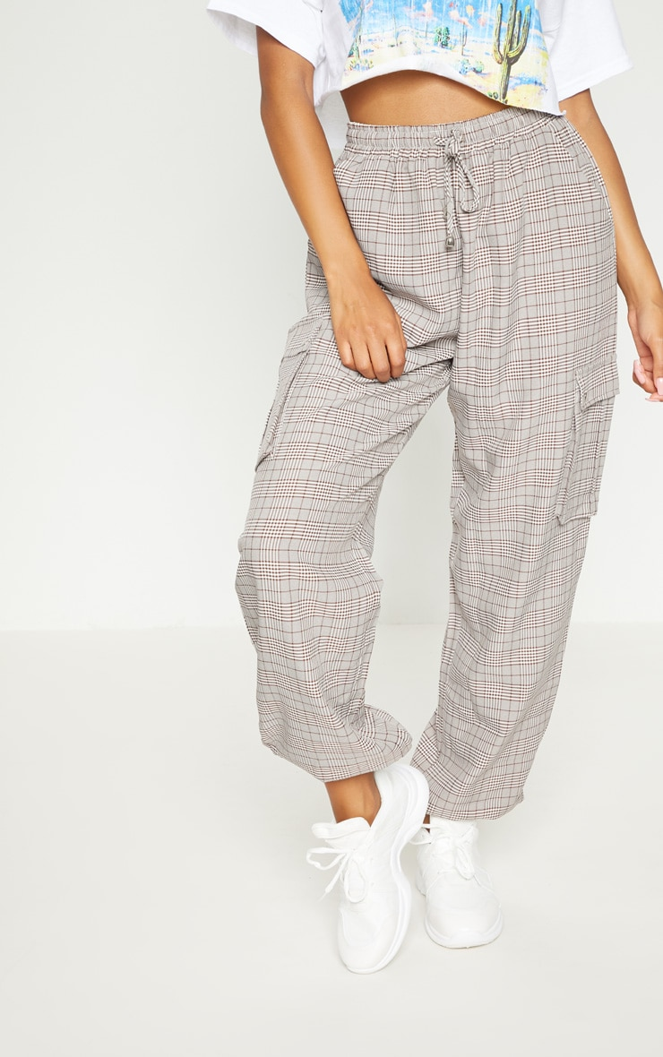 Brown Check Drawstring High Waisted Trousers 3