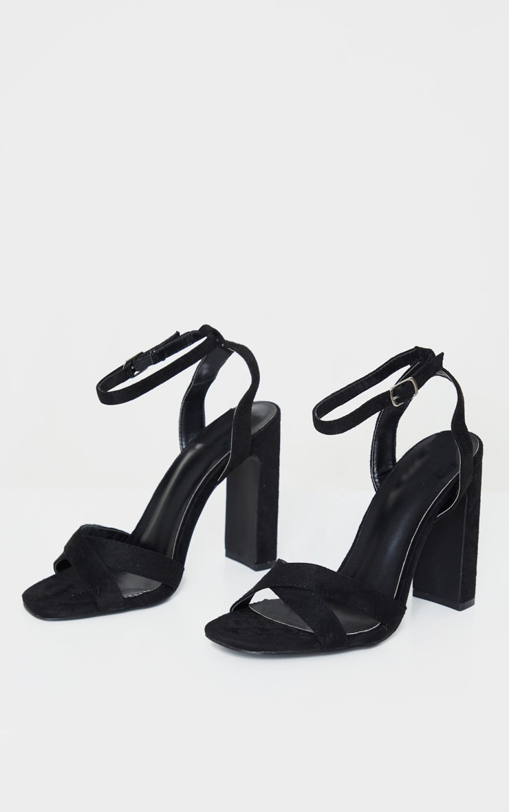Black Cross Strap Block Heel Sandal 3