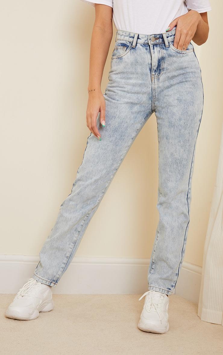 Acid Blue Wash Long Leg Straight Jeans 2