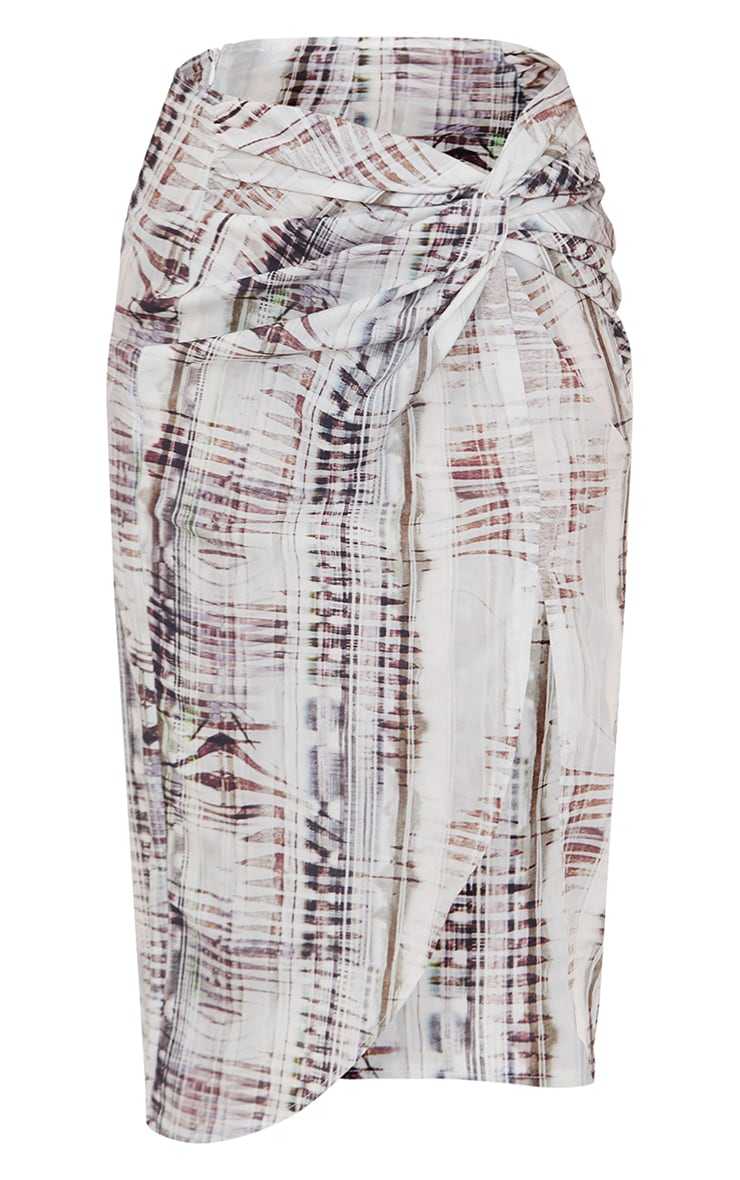 Stone Abstract Ruched Front Midi Skirt 5