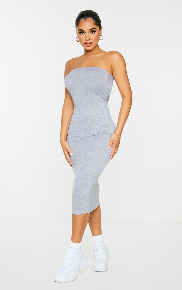 Petite Grey Marl Bandeau Jersey Midi Dress 3