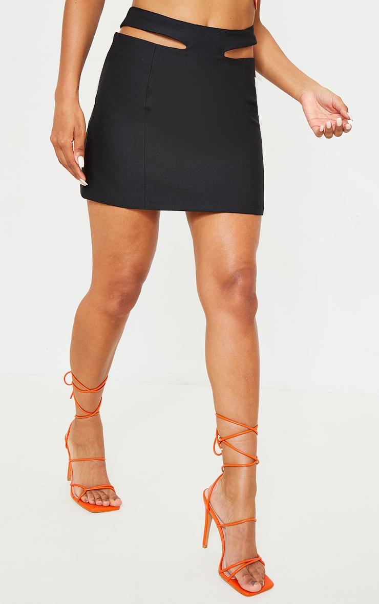 Black Woven Cut Out Mini Skirt 2