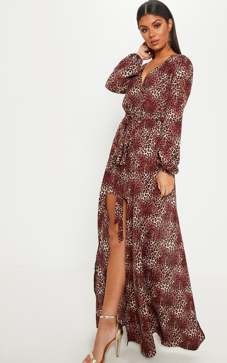 Brown Leopard Print Satin Plunge 2 in 1 Maxi Dress 4