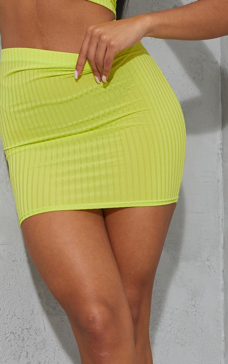 Lime Green Rib Mini Skirt 5