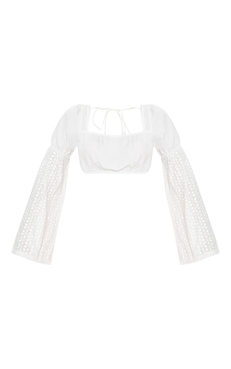 White Broderie Anglaise Sleeve Detail Bardot Crop Top  3