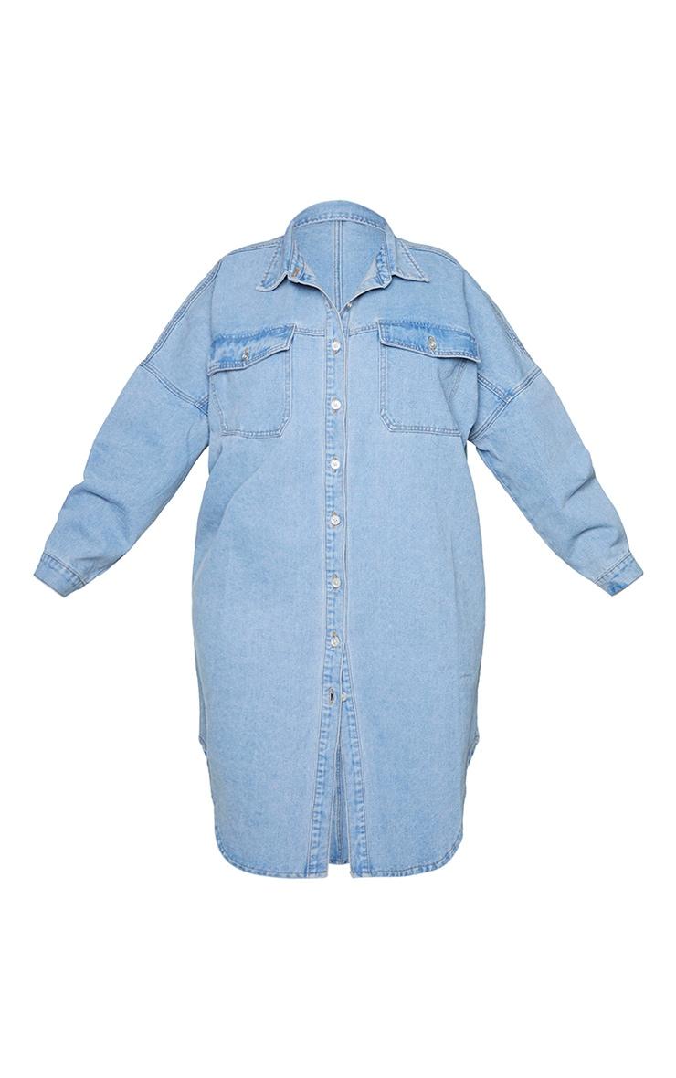 Plus Vintage Wash Longline Oversized Denim Shirt 5
