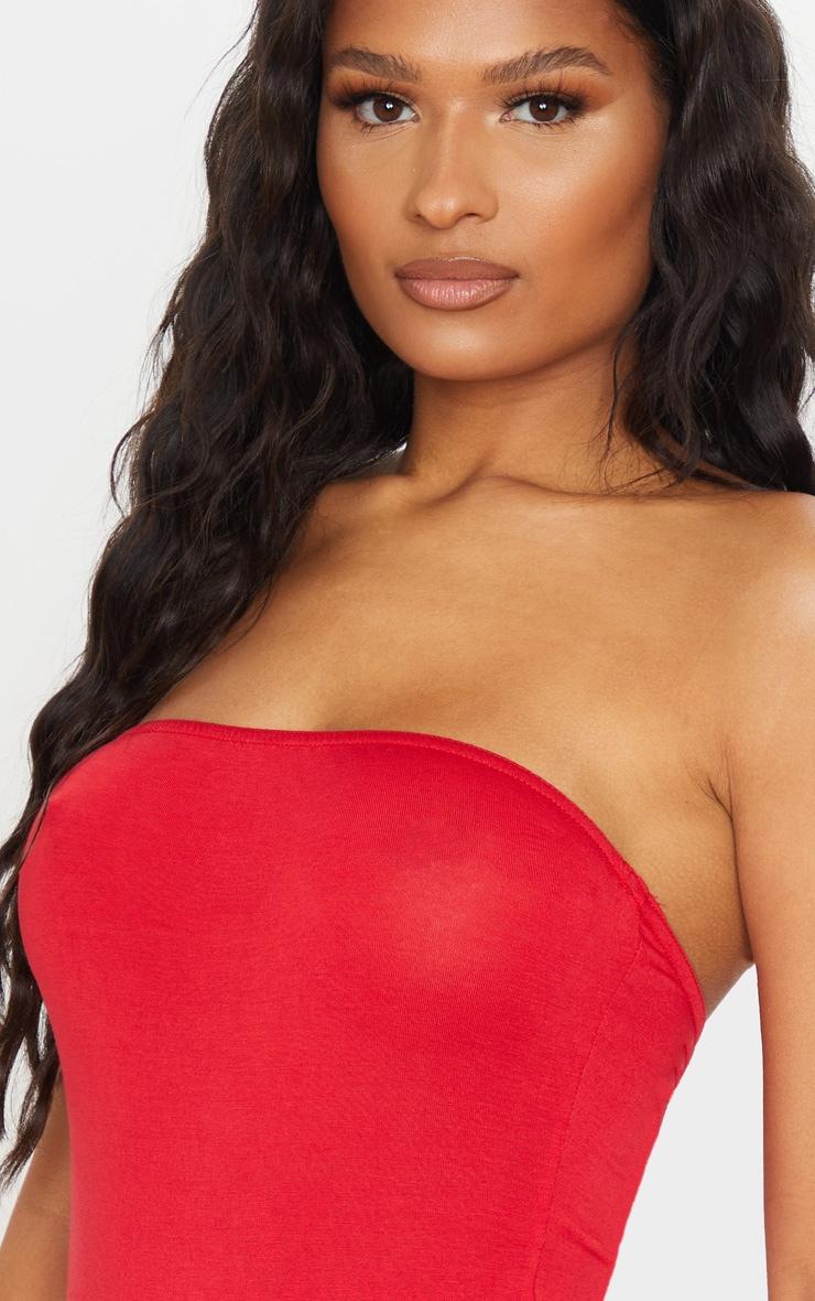 Basic Red Bandeau Bodysuit 4