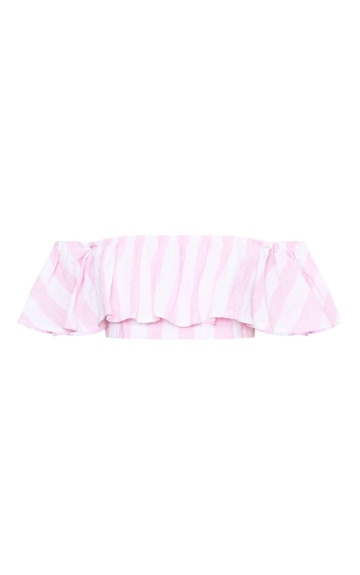 Sophina Pink Cotton Stripe Bardot Crop Top 3