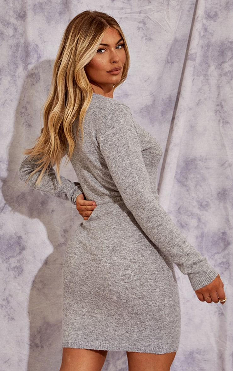 Recycled Grey Knitted Drawstring Mini Dress 2