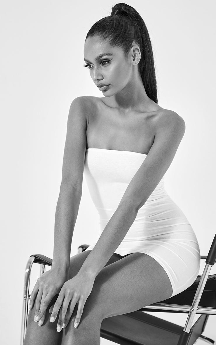 Basic White Cotton Blend Bandeau Pointy Hem Bodycon Dress 3