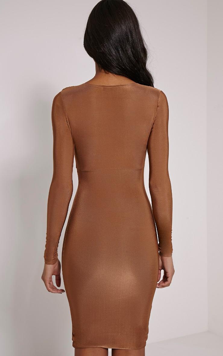 Adirenne Tan Slinky Deep V Neck Mini Dress 2