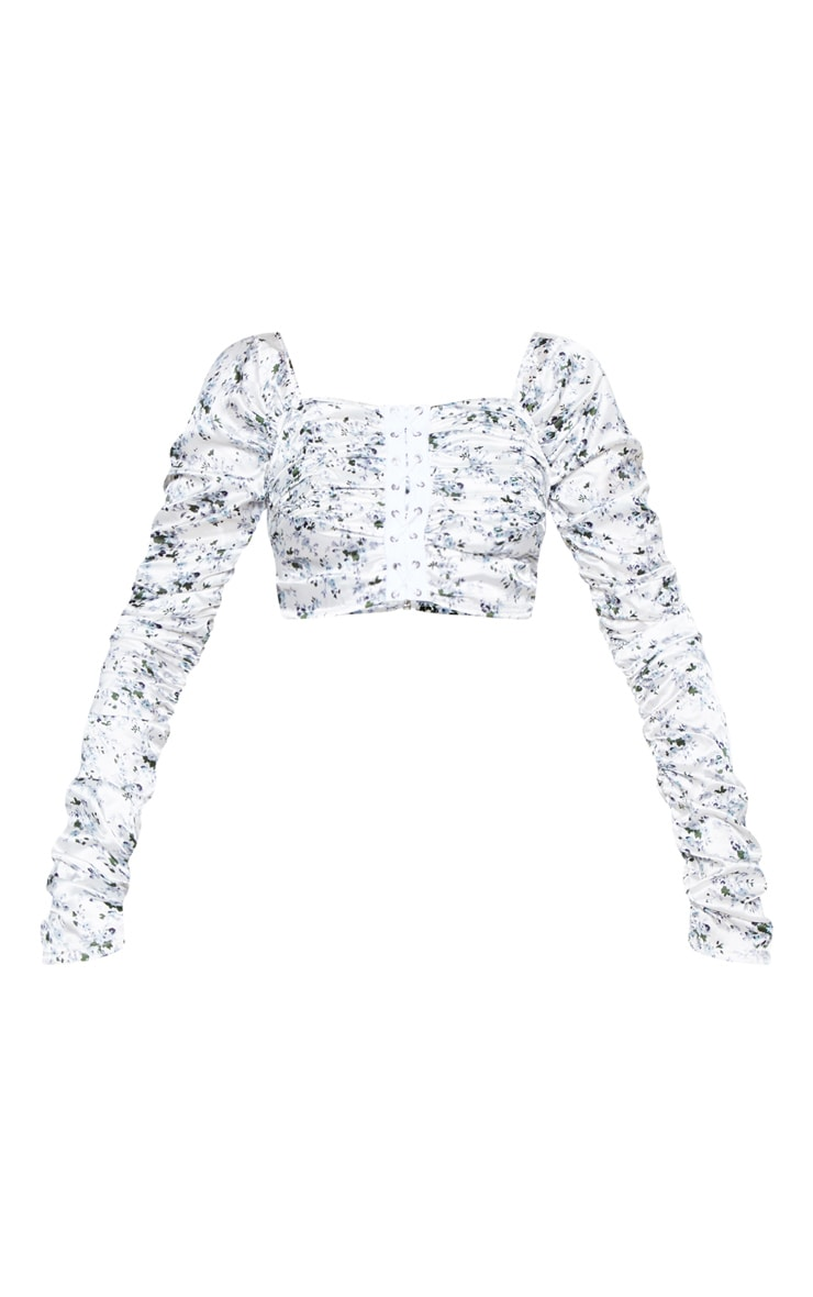 White Satin Ditsy Floral Print Ruched Lace Up Detail Crop Top 4