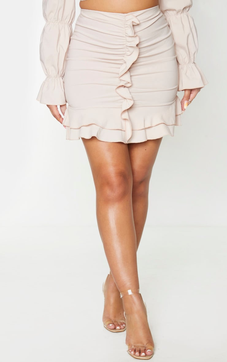 Nude Woven Stretch Frill Ruched Front Mini Skirt 2