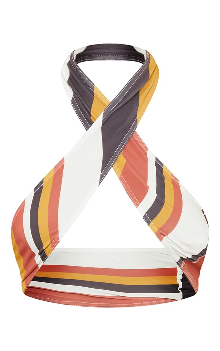 Brown Stripe Slinky Cross Over Crop Top 5