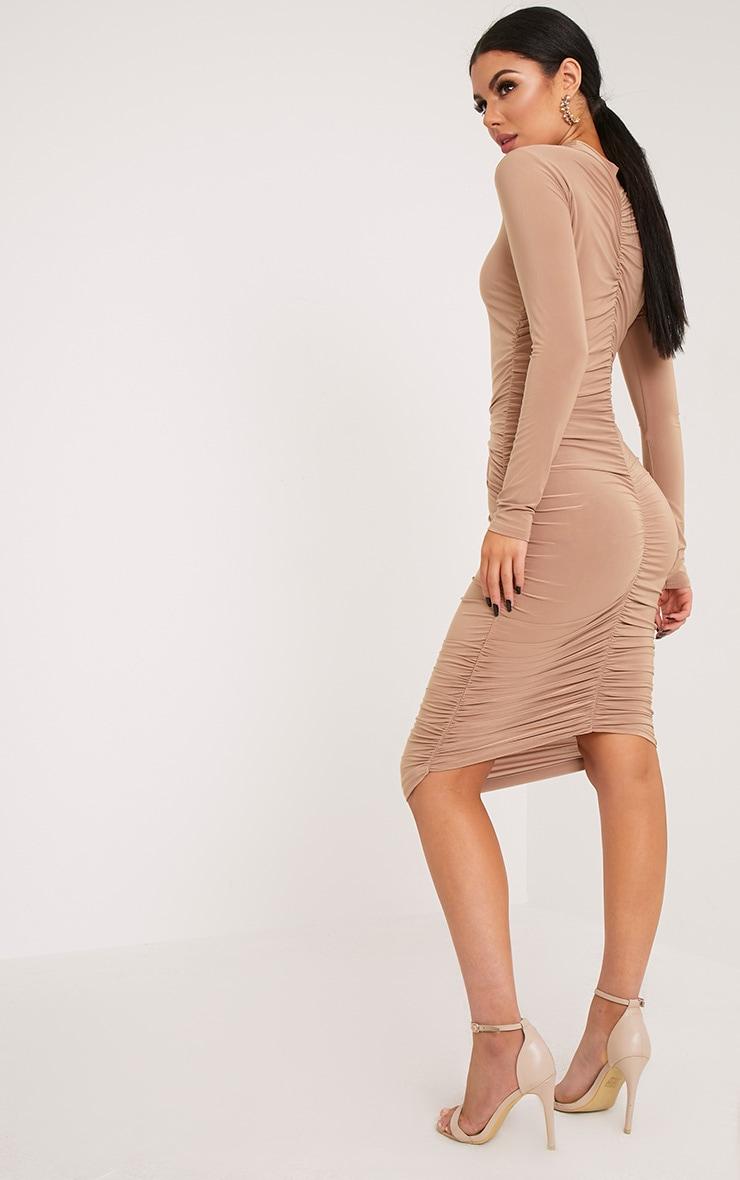 Niyah Camel Slinky Ruched Midi Dress 1