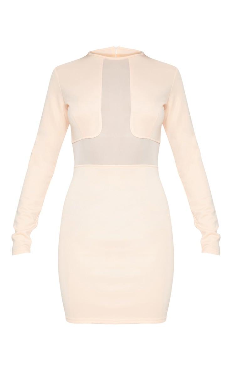Nude Mesh Insert Long Sleeve Bodycon Dress 3