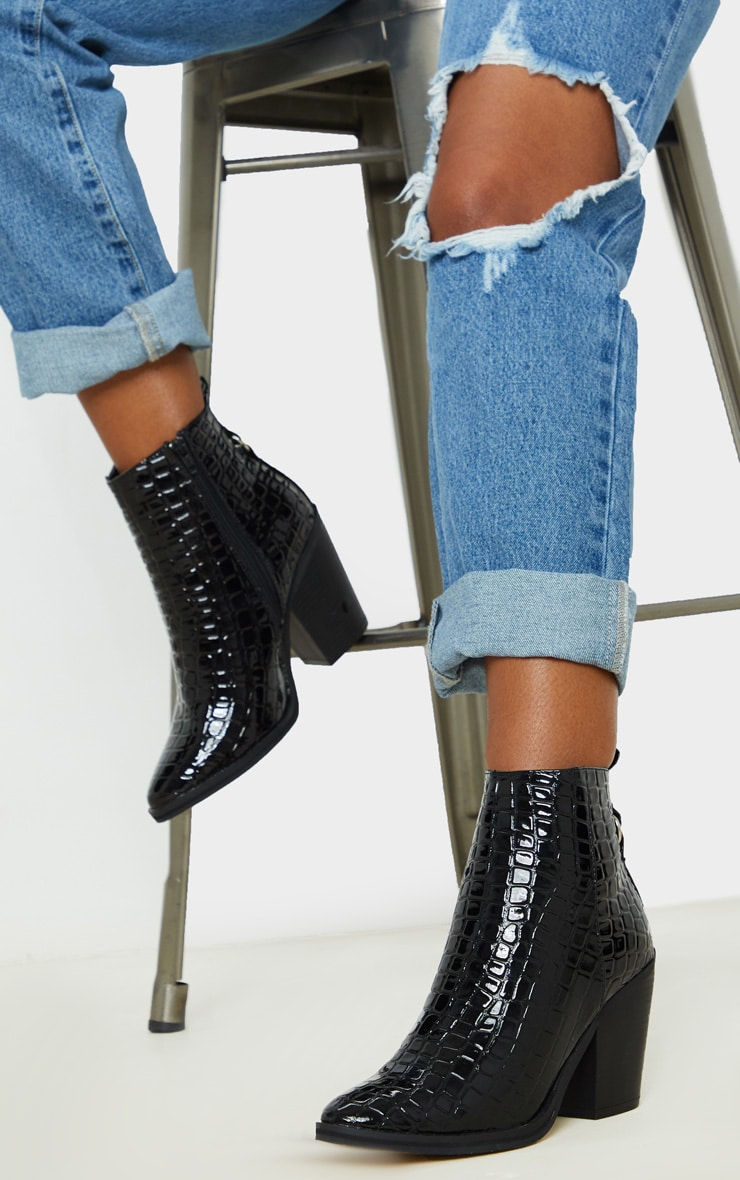 Black Patent Croc Western Ankle Boot 1