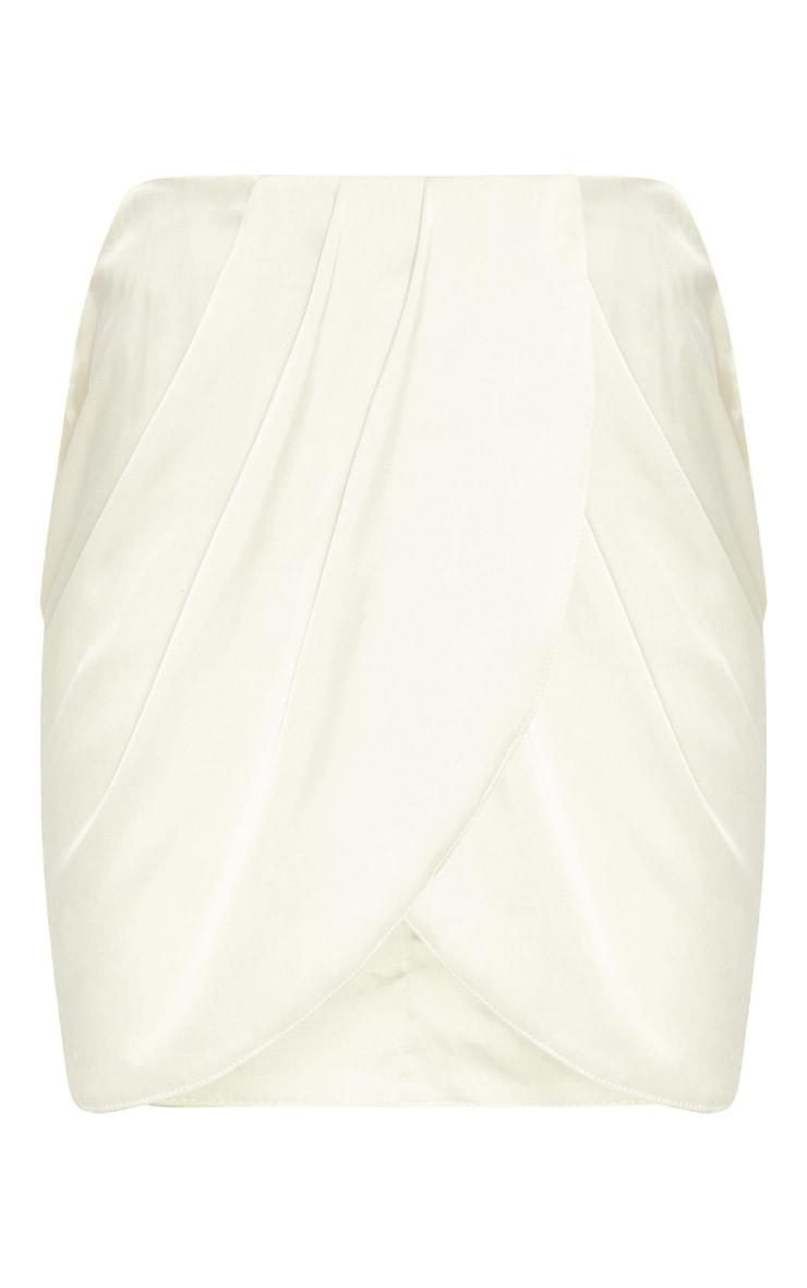Champagne Gathered Satin Mini Skirt  3