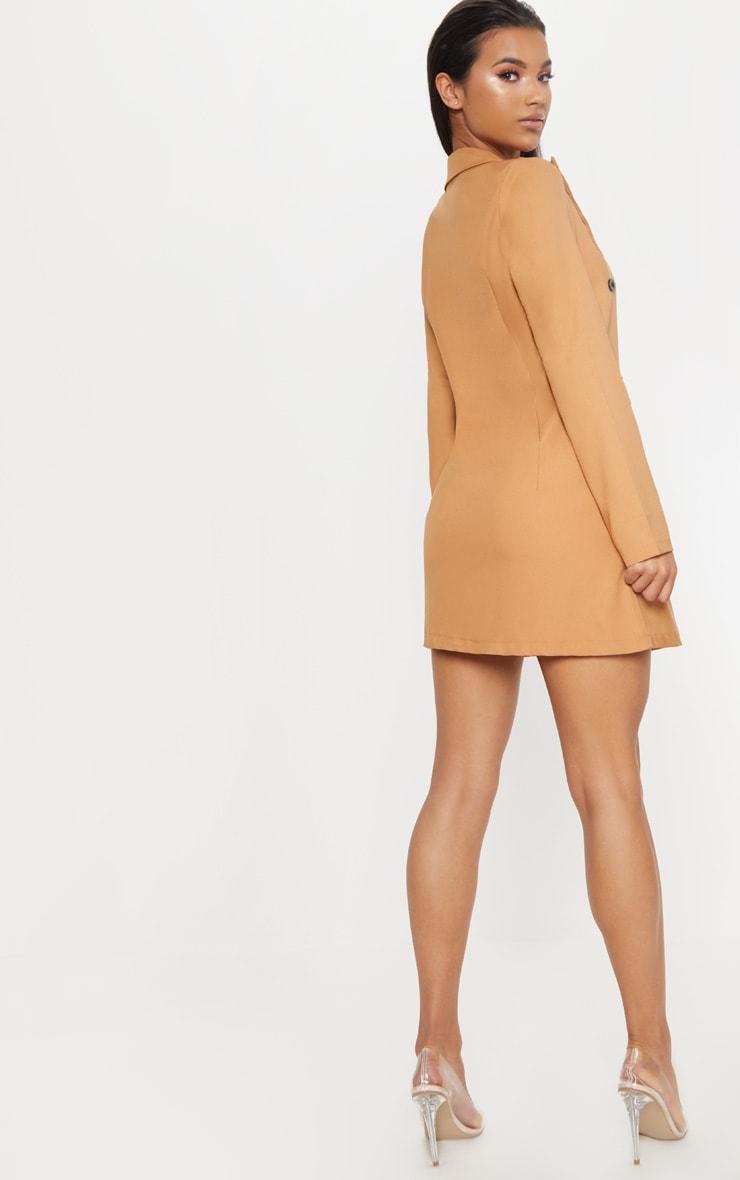 Camel Pocket Detail Blazer Dress 2