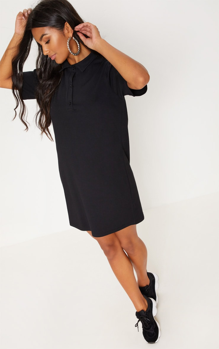 Black Polo Shirt Dress 4