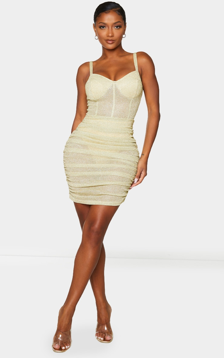 Shape Champagne Glitter Mesh Cup Detail Binding Bodycon Dress 3