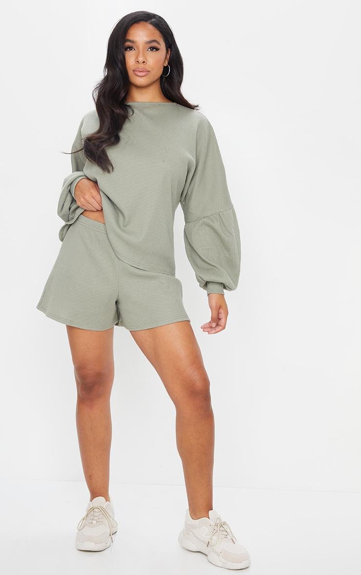 Sage Green Waffle Knit Shorts 4