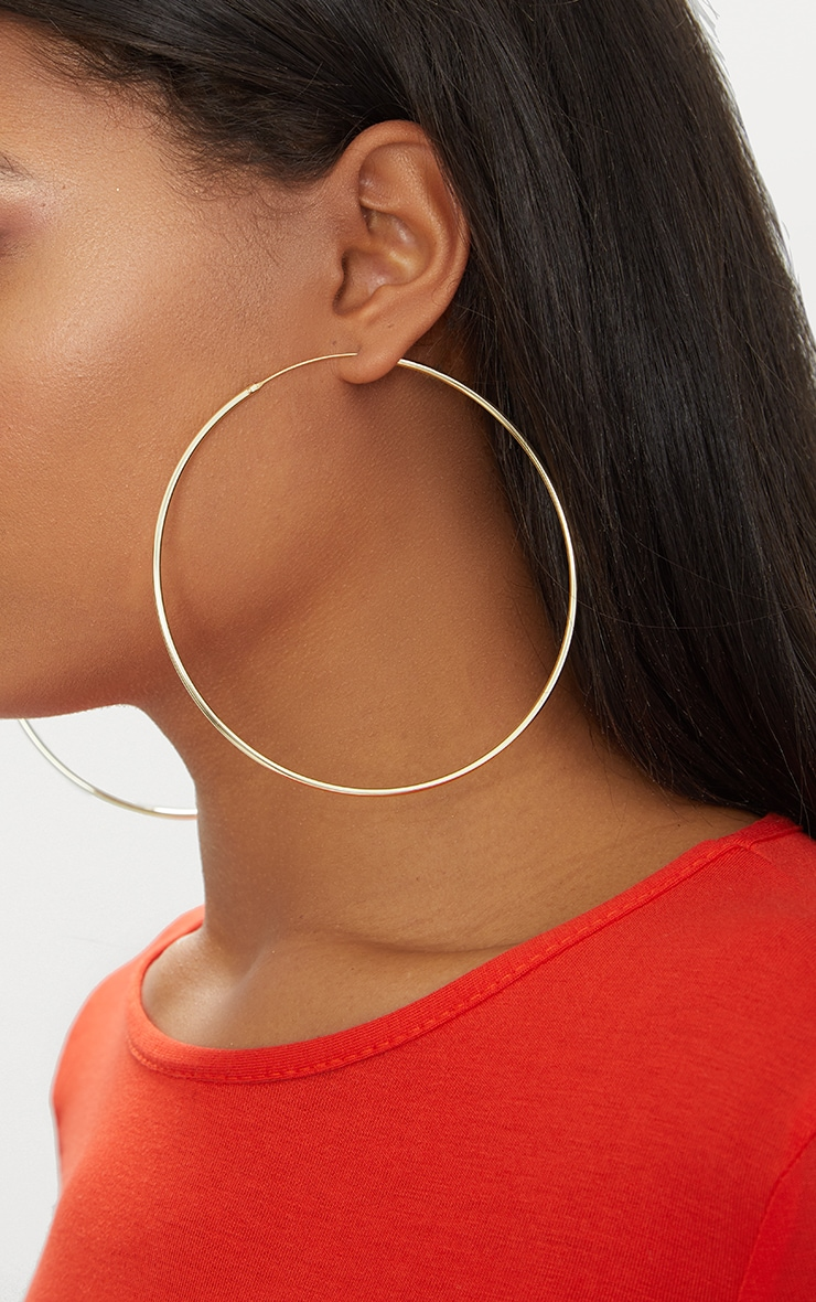 Gold Plated Sterling Silver 100mm Large Hoop Earrings 3