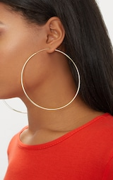 bcb30b7f5 Gold Plated Sterling Silver 100mm Large Hoop Earrings image 3