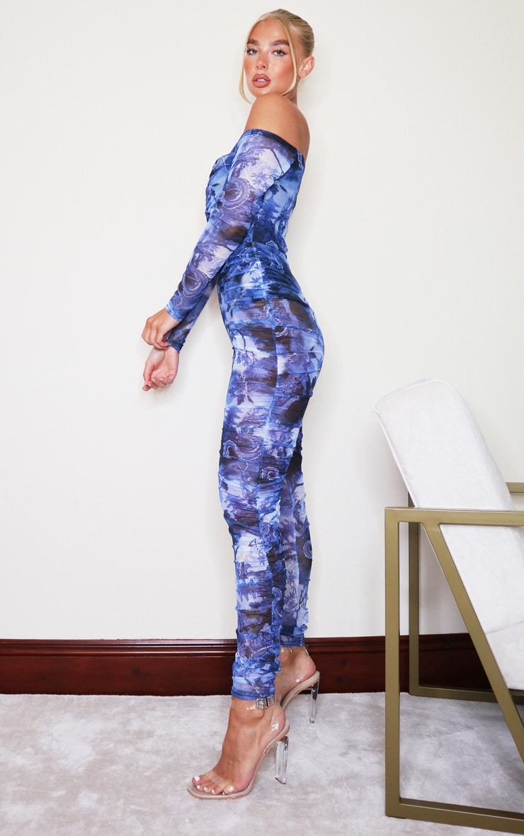 Blue Print Mesh Ruched Bardot Jumpsuit 3