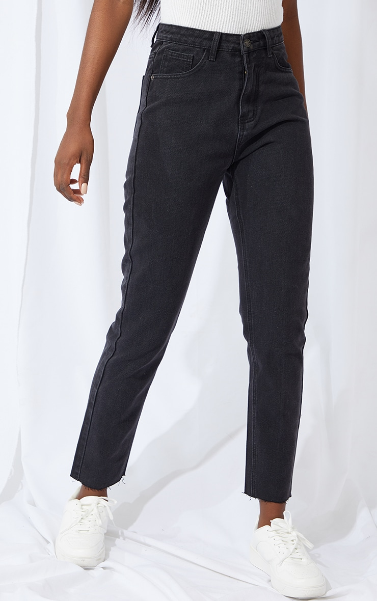 PRETTYLITTLETHING Tall Black Raw Hem Cropped Slim Mom Jean 2